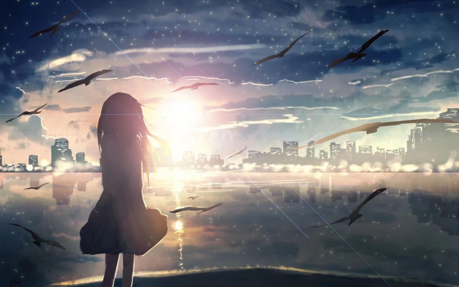 动漫世界中的孤独背影