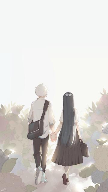 情侣背影创意插图