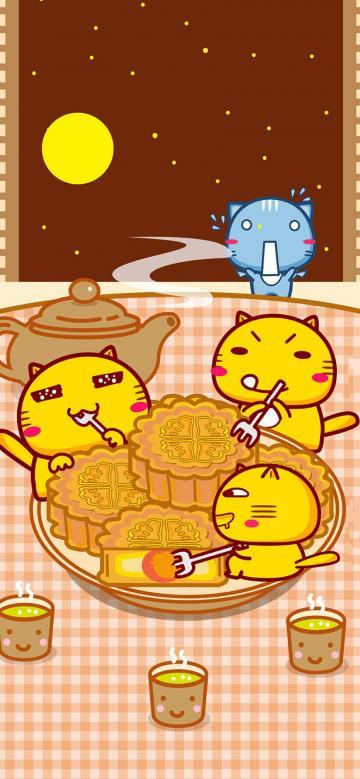 中秋节一起吃月饼的哈咪猫